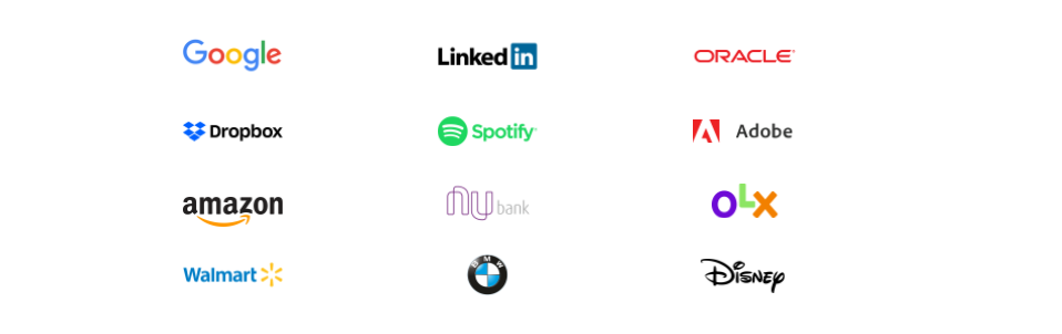 Empresas que utilizam OKRs: Google, LinkedIn, Oracle, Dropbox, Spotify, Adobe, Amazon, NuBank, OLX, Walmart, BMW e Disney.