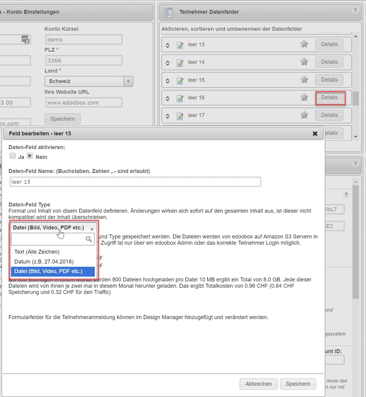 Datei Upload bei der Anmeldung