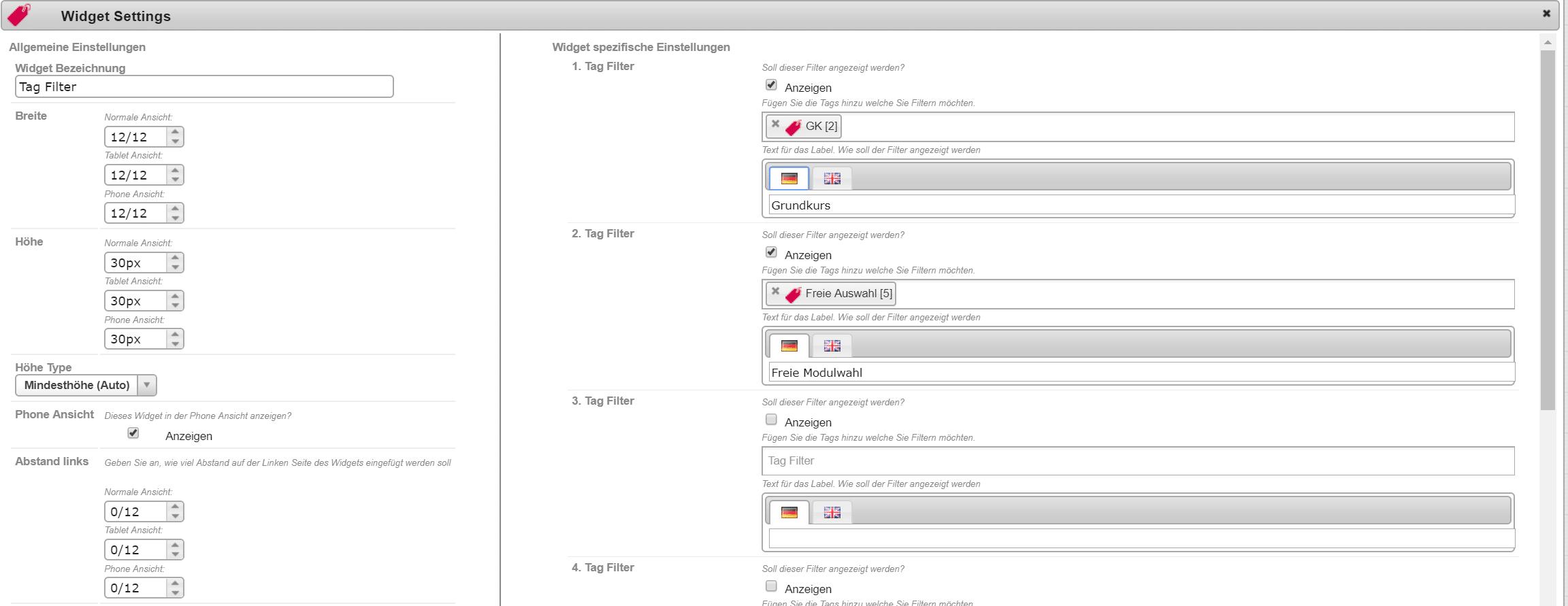 Tag Filter im Design Manager