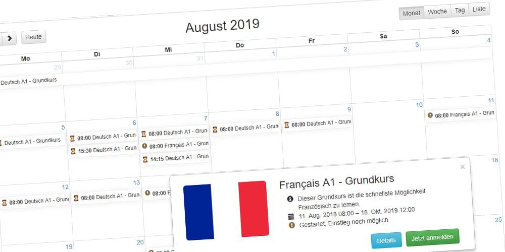 Übersichtliche Kalender Ansicht für Teilnehmer