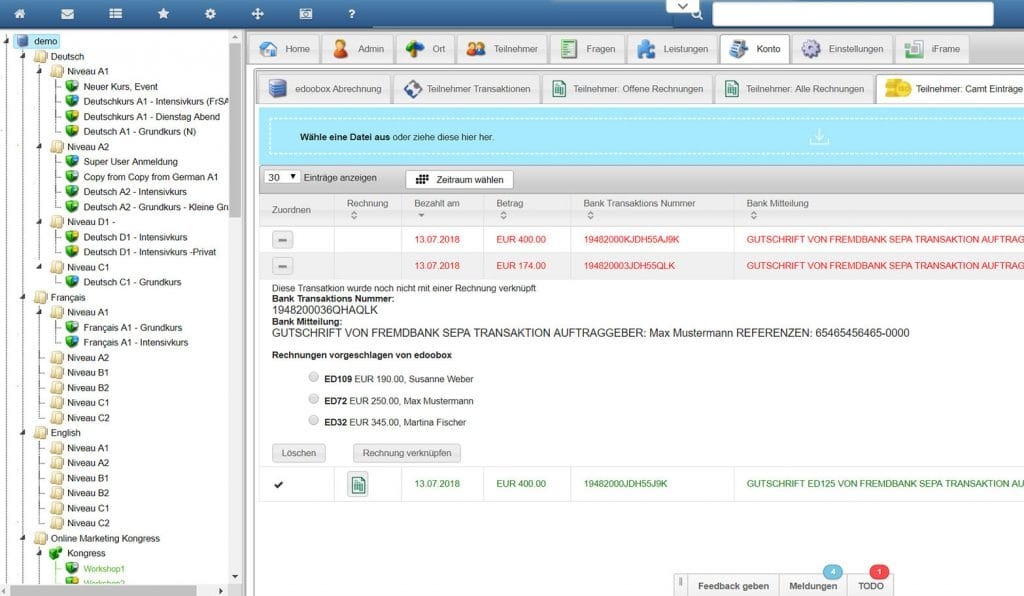 Rechnungsmodul und Zahlungsabgleich aus dem E-Banking