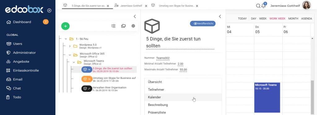 Update August: Benutzerinterface, SCA und Google Calender