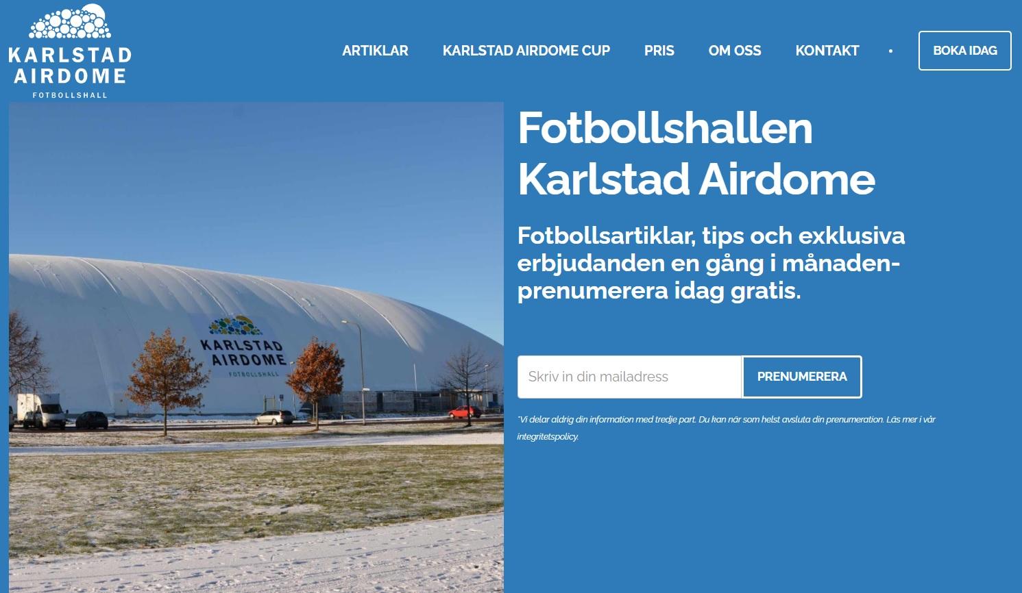 Screenshot över karlstad airdomes hemsida.