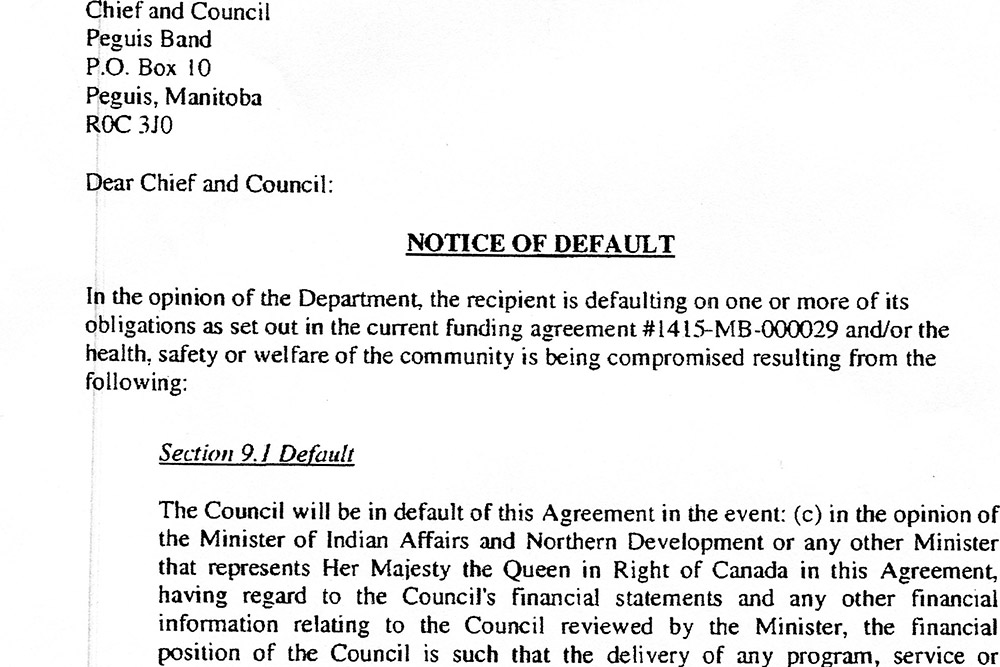 Notice of Default Letter - Peguis First Nation