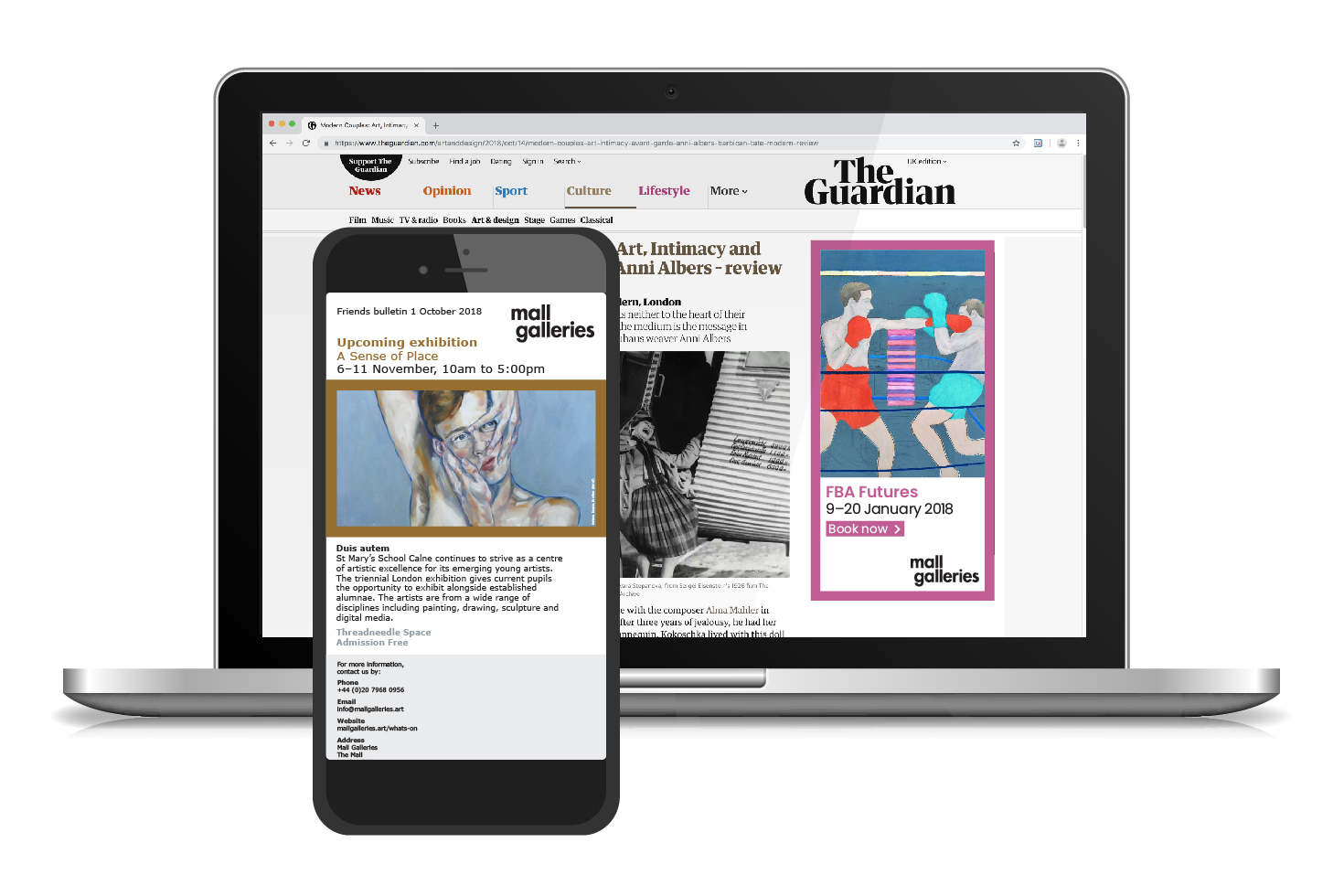 Mall Galleries website and mobile phone