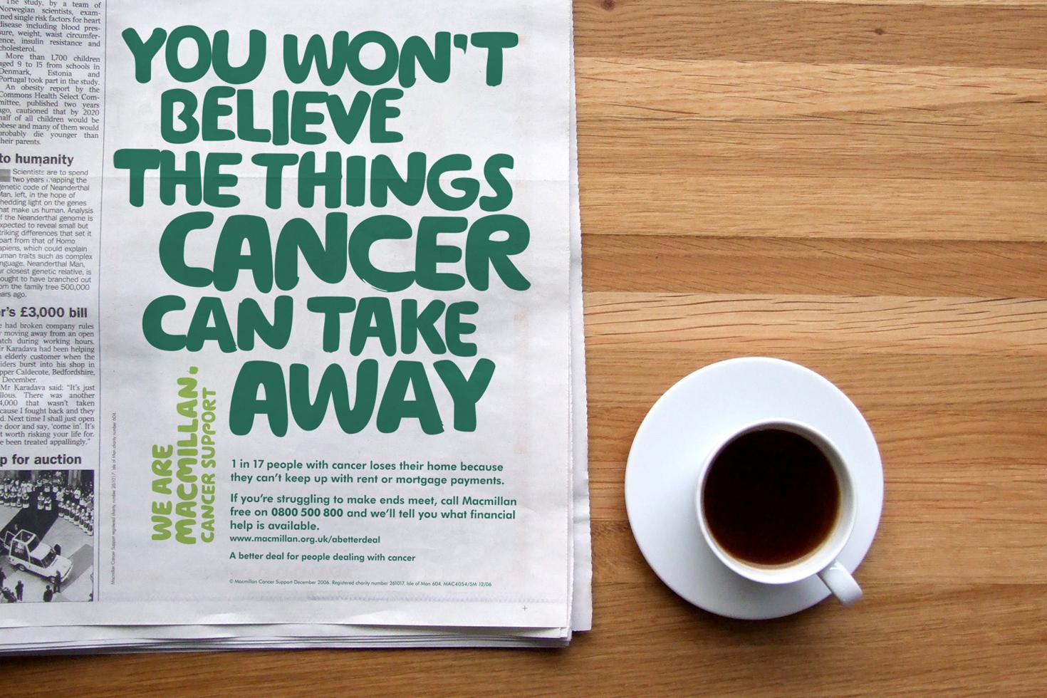 Macmillan Cancer Support advert