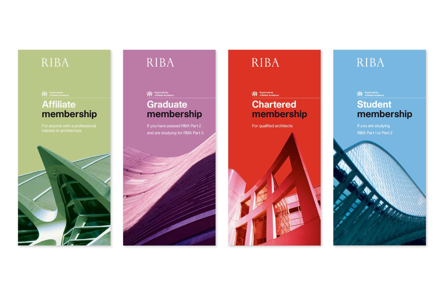 set of 4 RIBA membership leaflets