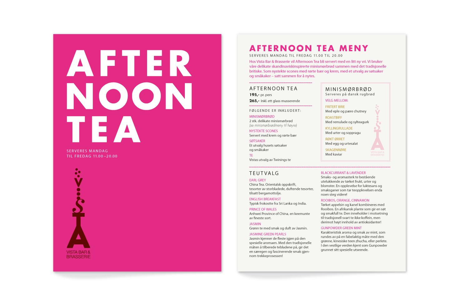 Vista afternoon tea menu