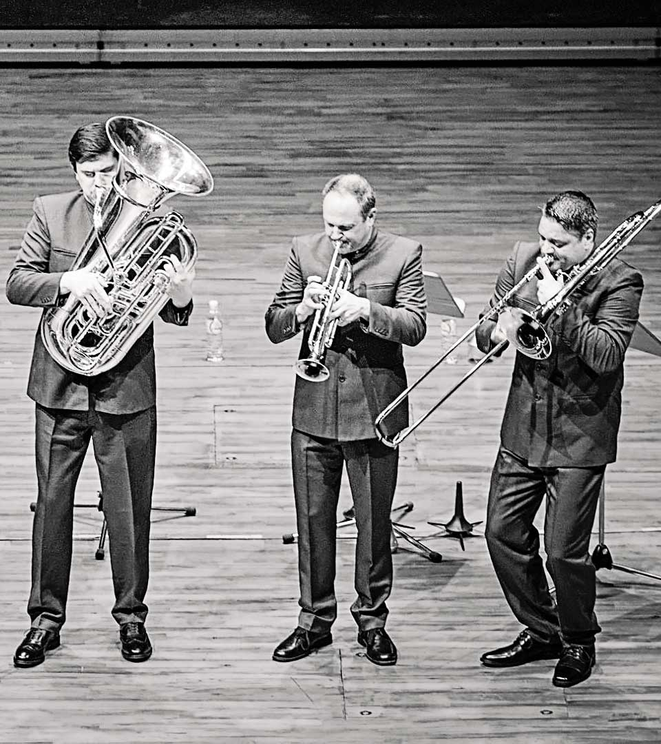 Domingo with Boston Brass on stage