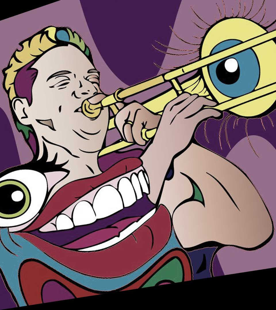 Domingo Pagliuca artwork playing trombone