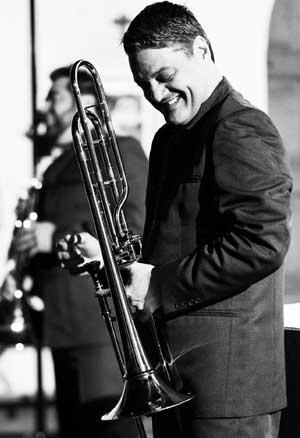 Domingo Pagliuca standing with trombone