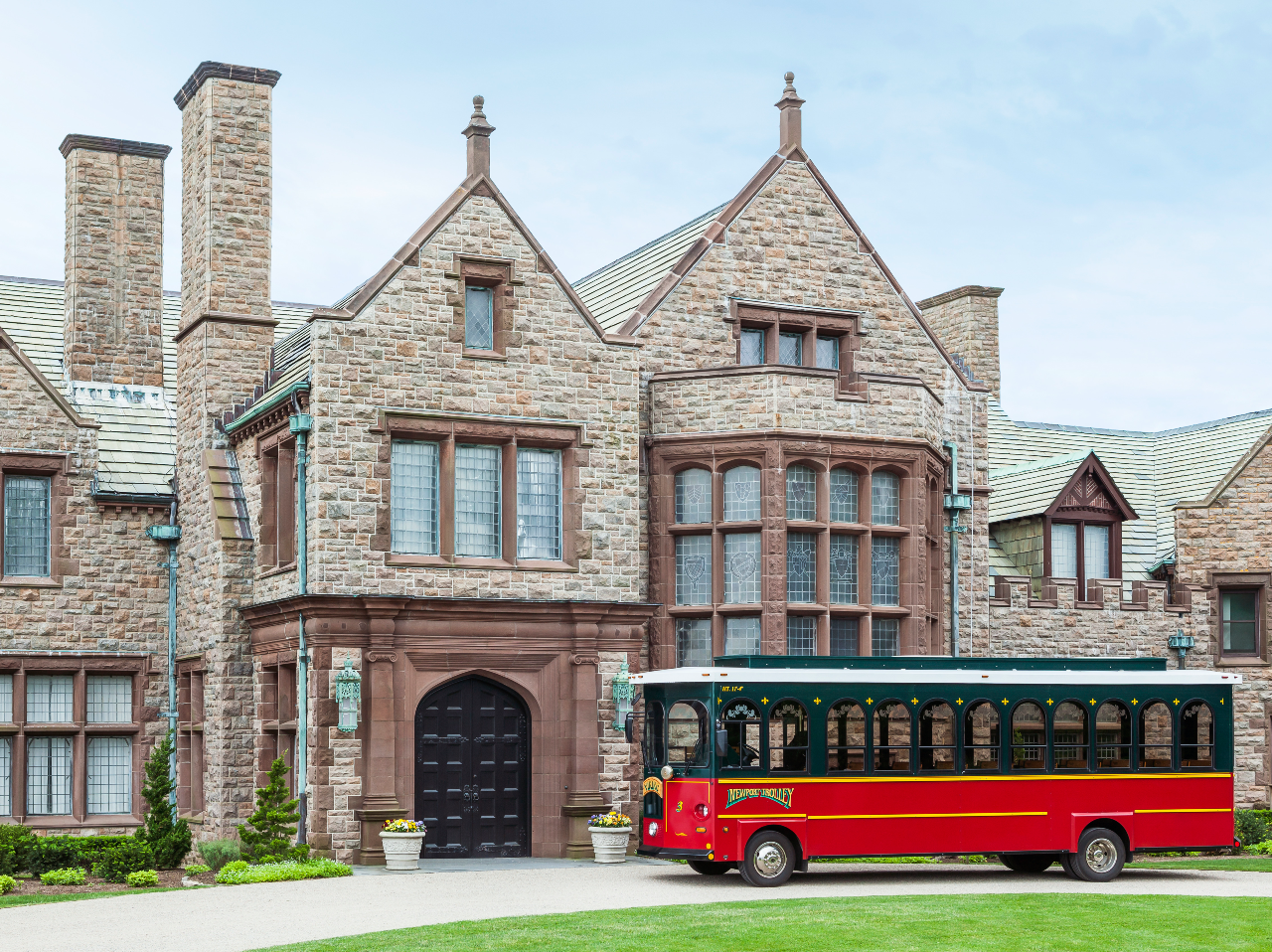 Rough Point Mansion in Newport RI aboard Viking Trolley with Coastal Queen Cruises