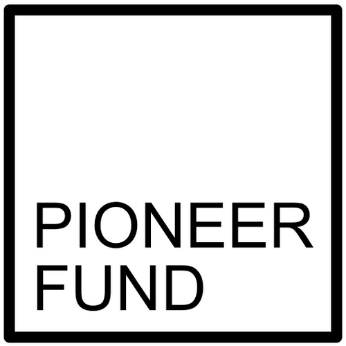 Pioneer fund logo. Outline of a square with the company name in the bottom left-hand corner