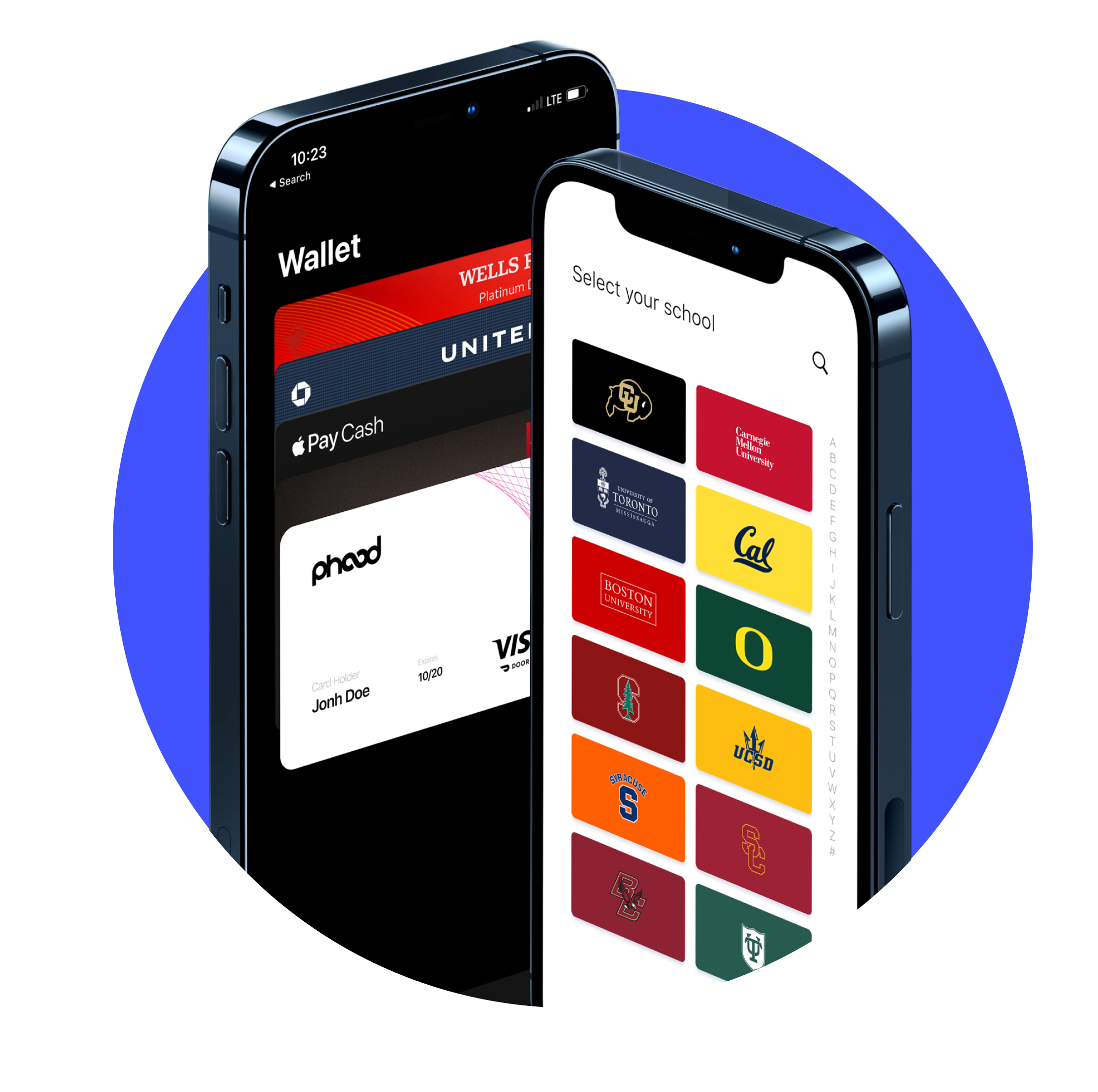 A rendering of our app and digital phood card inside an apple wallet
