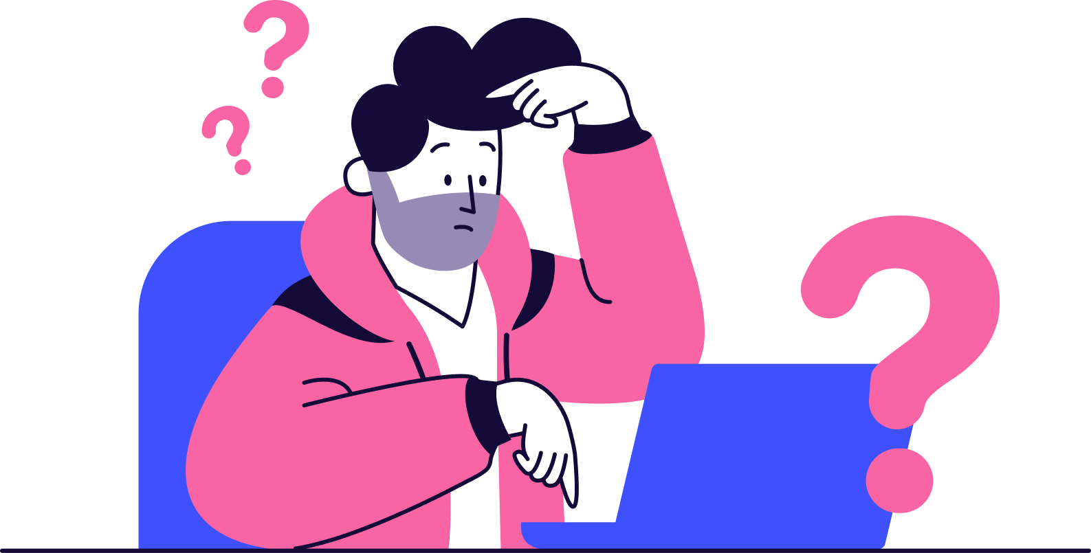 An animation of a confused women