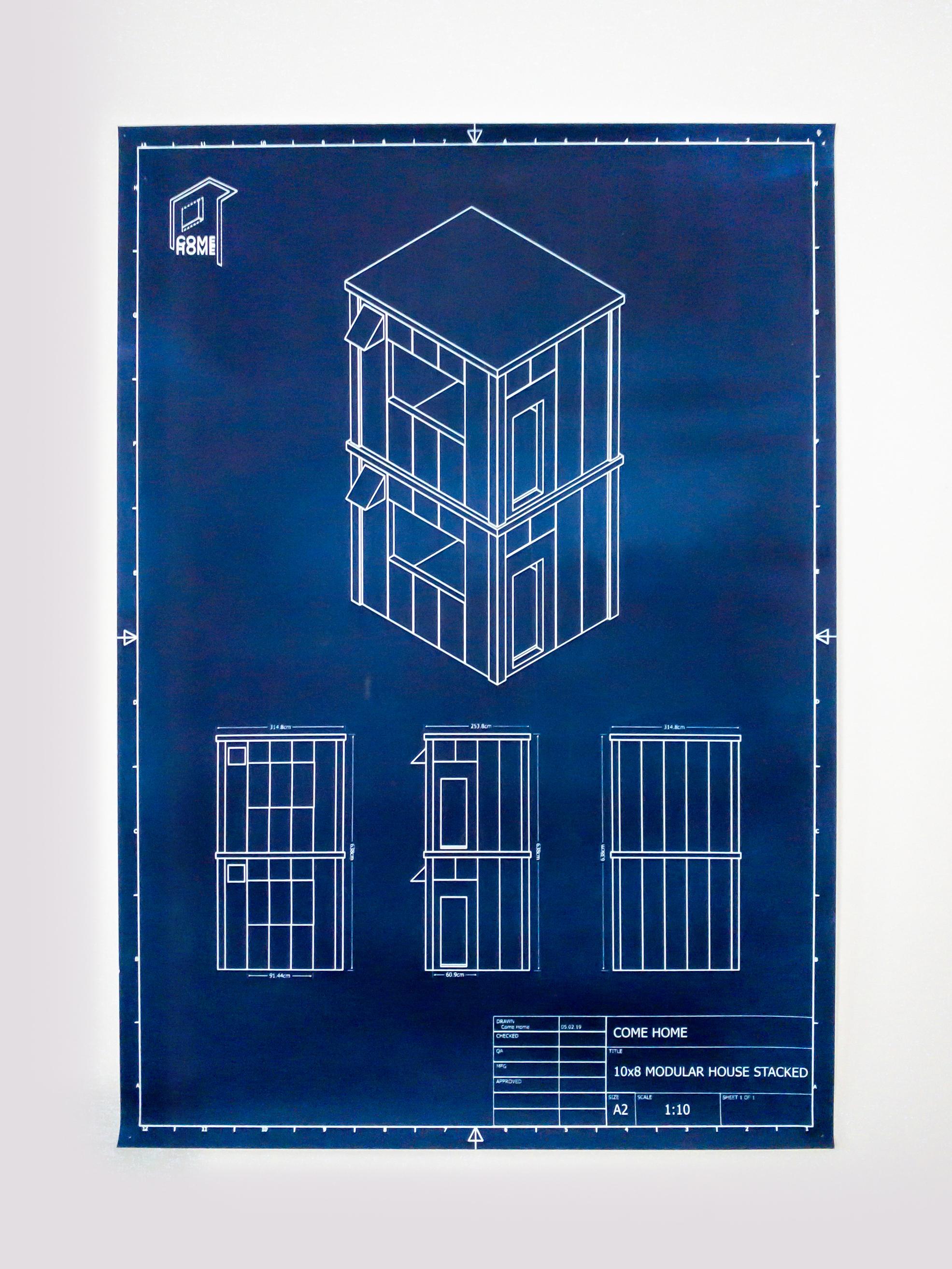 stacked modular home cyanotype