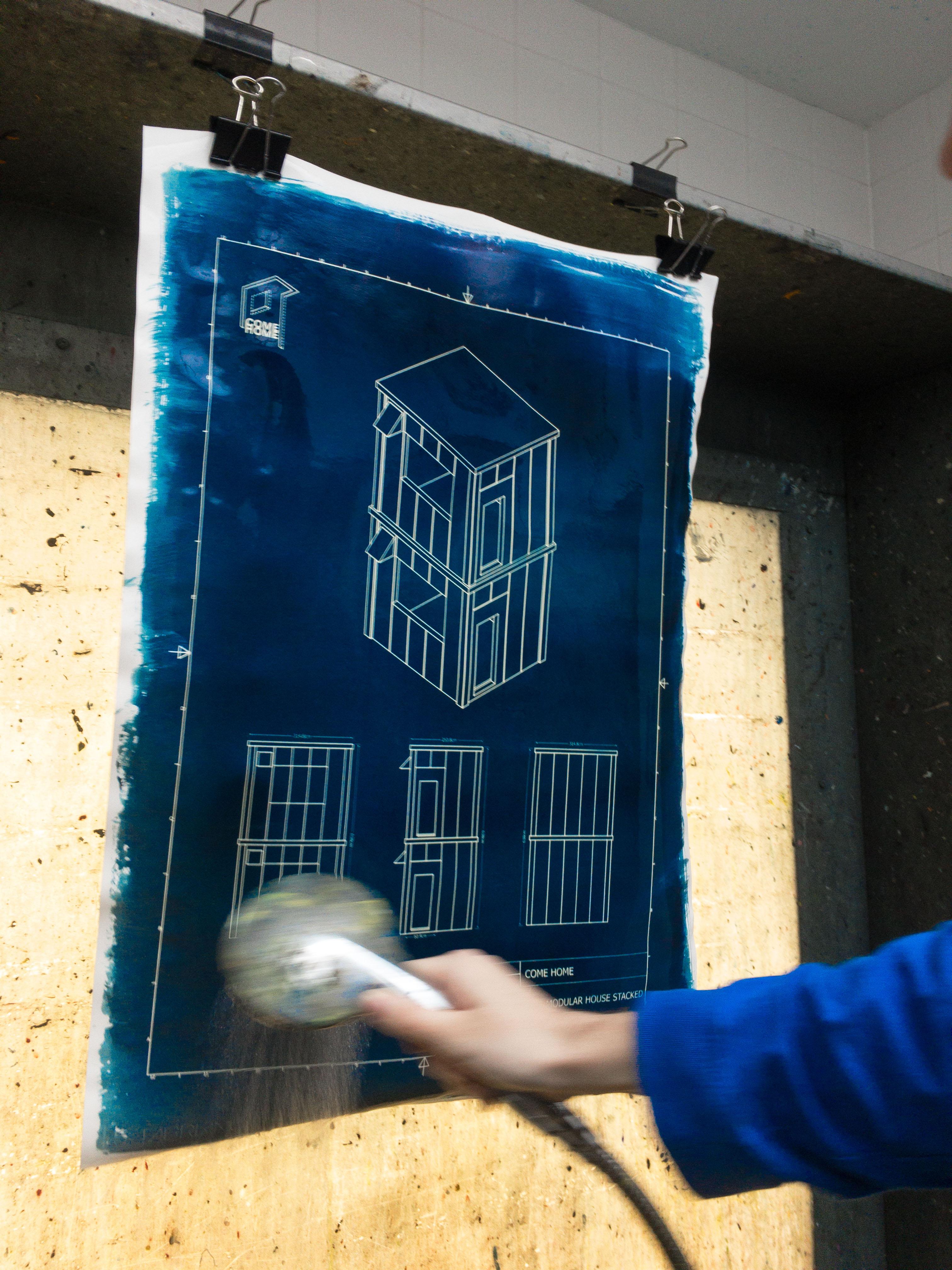 washing cyanotype 2