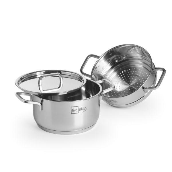 Bộ nồi xửng hấp inox FiveStar Standard 304 nắp inox , 3 đáy bếp từ tặng 2  vá canh ( 20cm ) - Bộ nồi Nhãn hiệu Fivestar | VatDungNhaBep.com