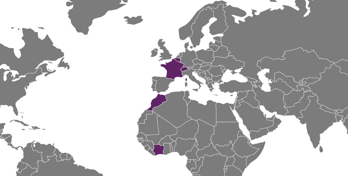 carte du monde avec les différents partenaires de Delta RM