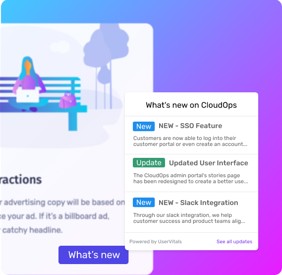 New product updates displayed via a changelog widget embedded in a website