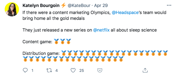 Tweet by Katelyn Bourgoin about Headspace Netflix series