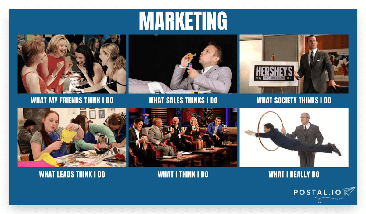 What people think marketers do meme