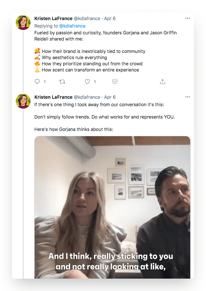 Twitter thread from content marketer Kristen LaFrance