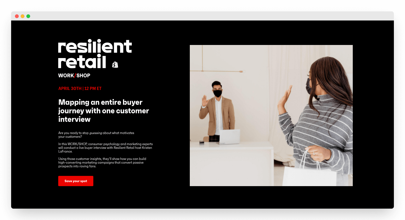 Landing page for Resilient Retail workshops
