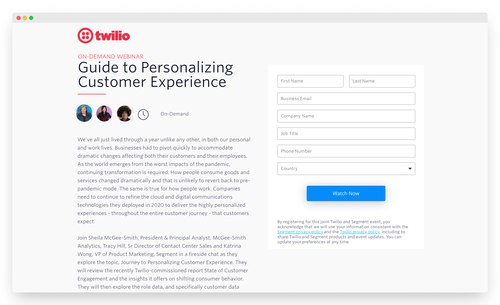 Landing page for gated content