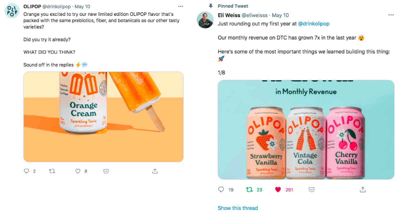 Olipop brand account vs employee branding