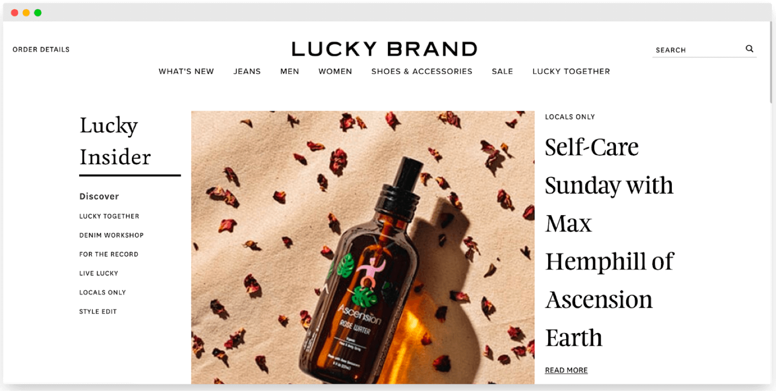 Lucky Brand content featuring employee brands