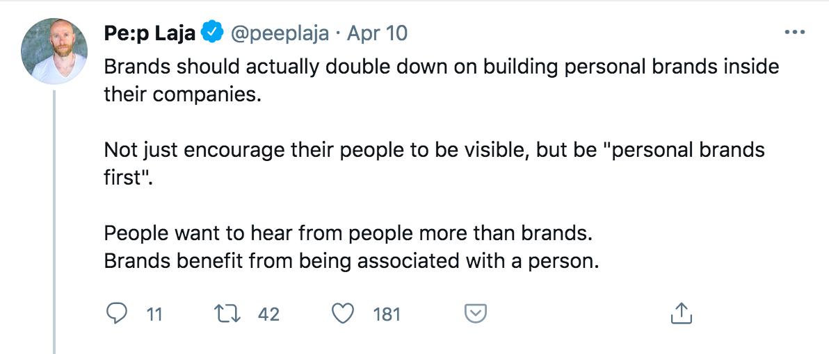 Pe:p Laja tweet on building personal brands