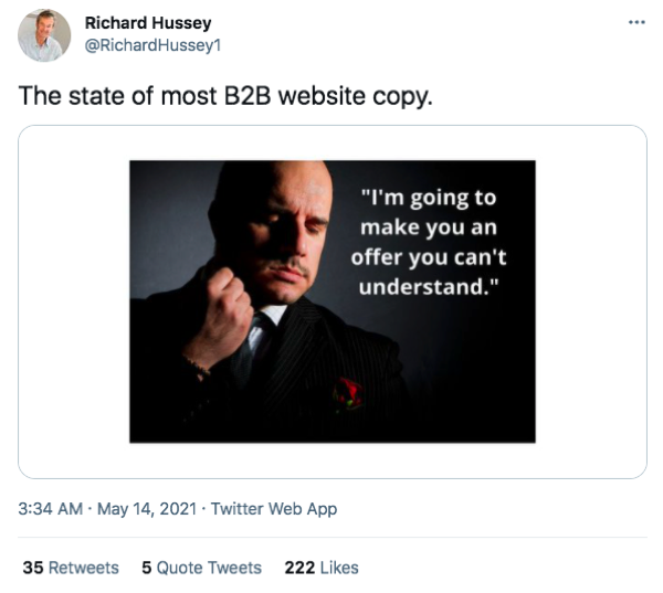 Tweet by Richard Hussey about the state of B2B content