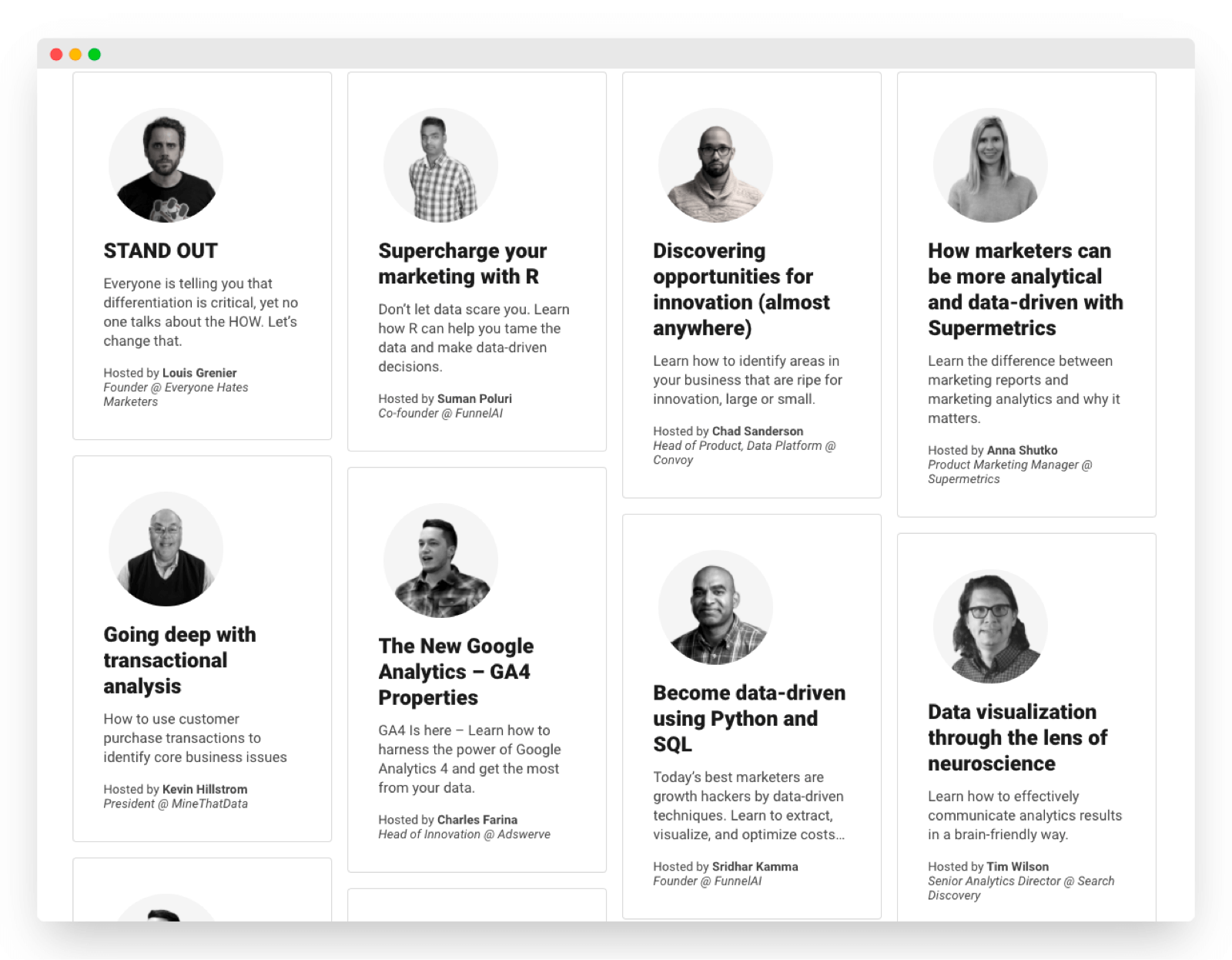 Roster of experts with personal experience