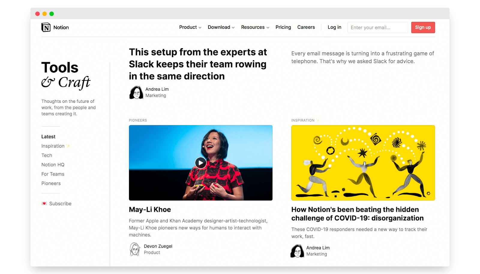 Notion tools and craft expert content