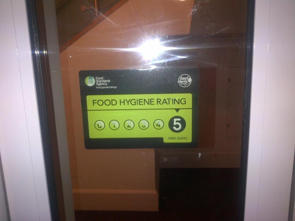 Food hygiene rating displayed on a door