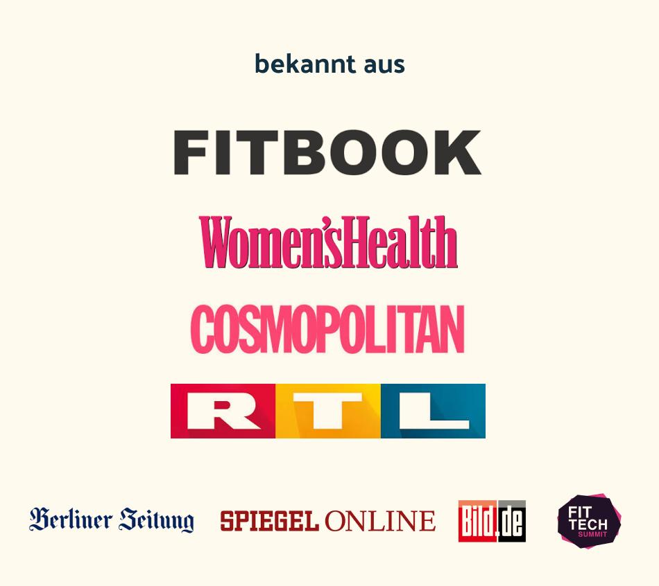 Logo Fitbiok, Bild,de, Womens Health, Cosmopolitan, RTL, Berliner Zeitung, Spiegel Online, Bild,de, Fittech Summit