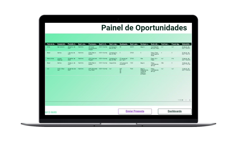 Tela de oportunidades de remessas de agentes de carga