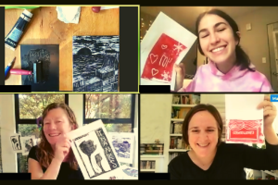 Four people on zoom holding up their printmaking art