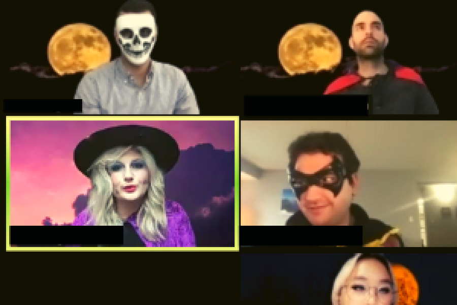 Four people on zoom with spooky costumes