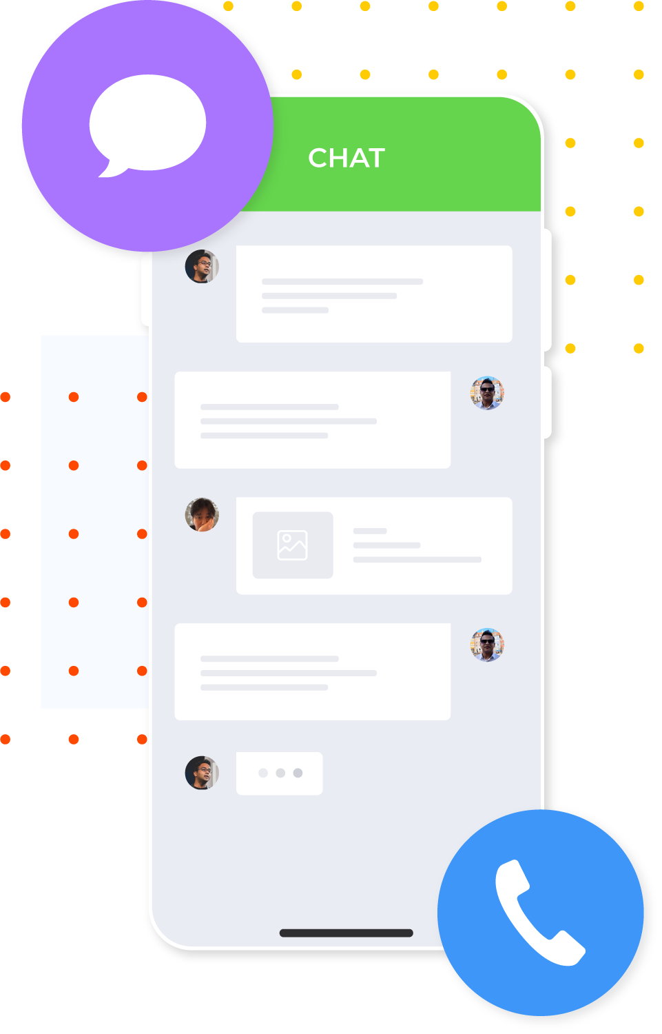 Simplified illustration of driver app chat feature.