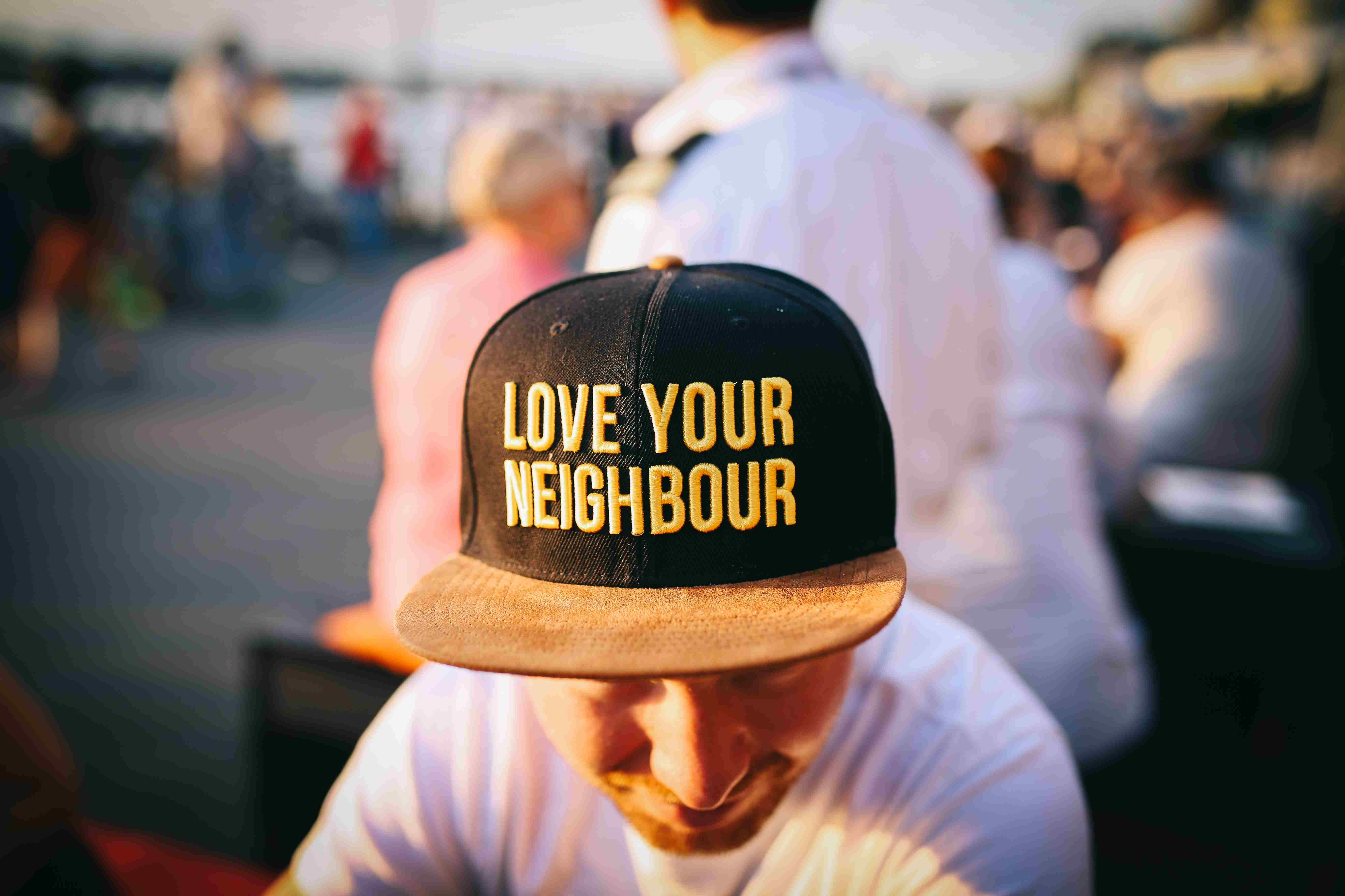 Love your neighbor hat photo