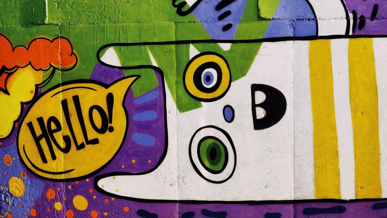 colorful hello graffiti
