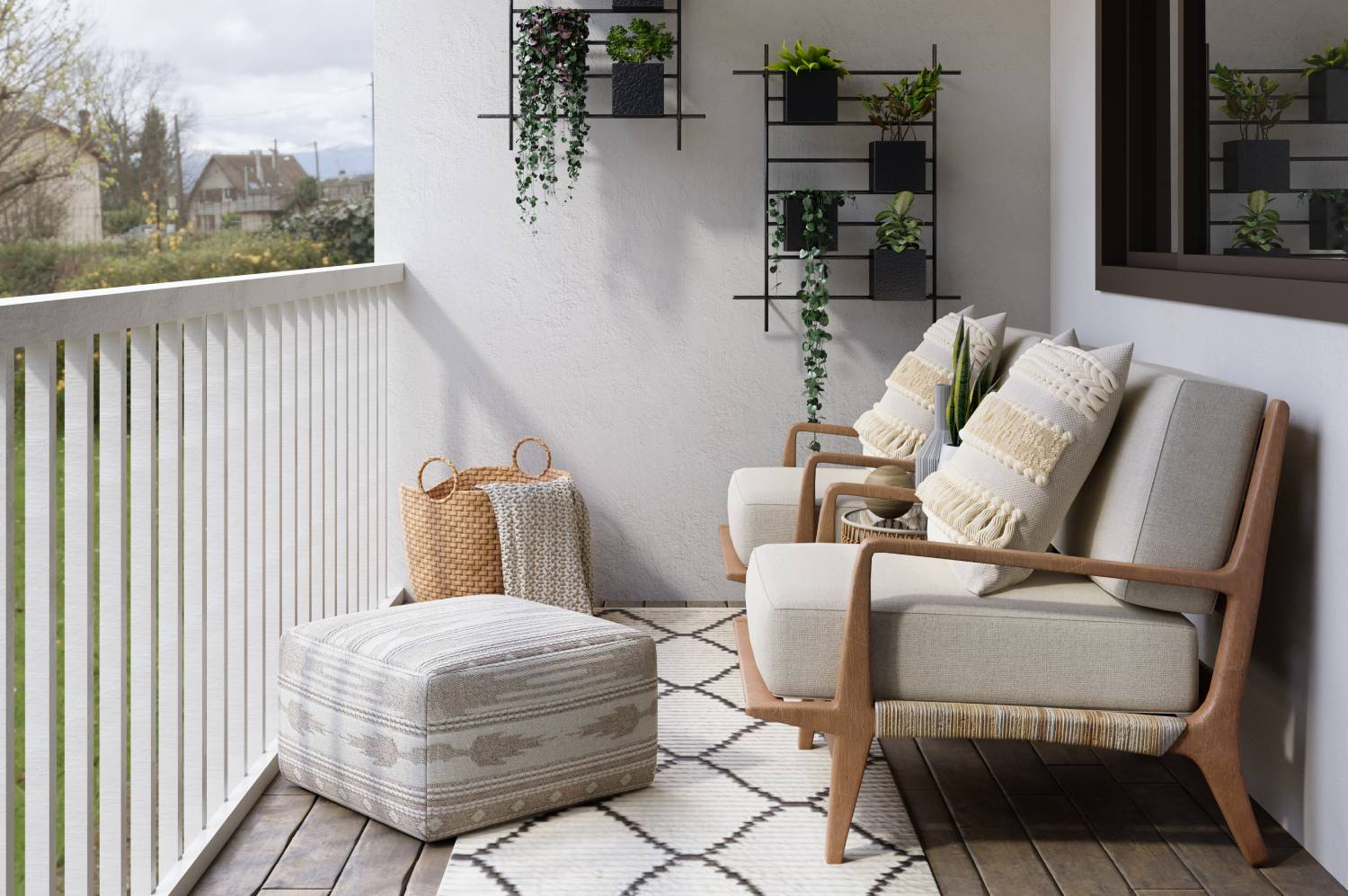 balcony with plants and chairs
