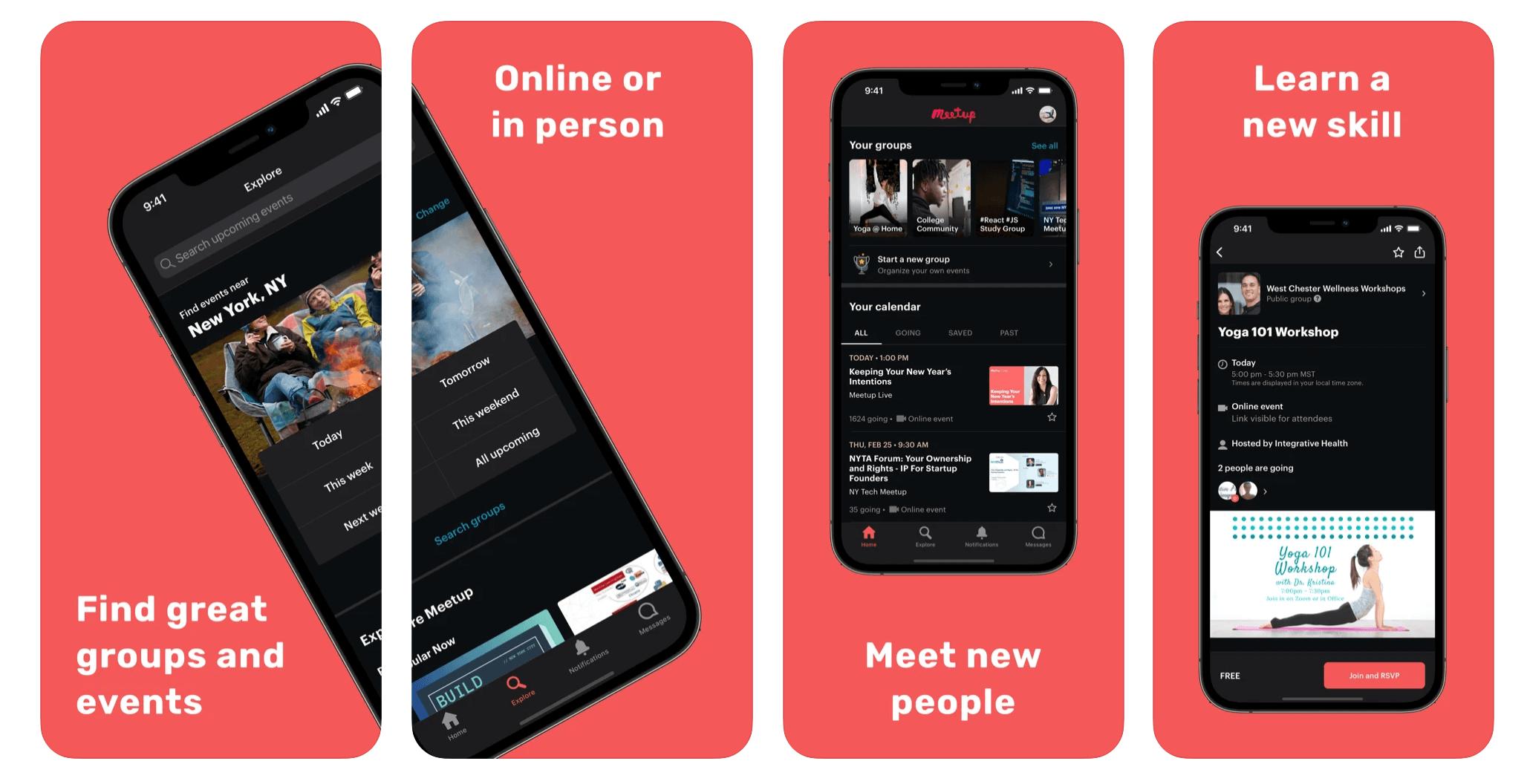 Meetup app screenshots