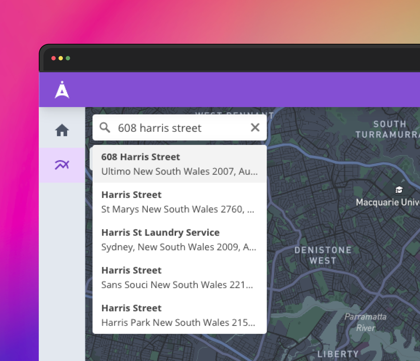 Screenshot of Survey Platform search function.