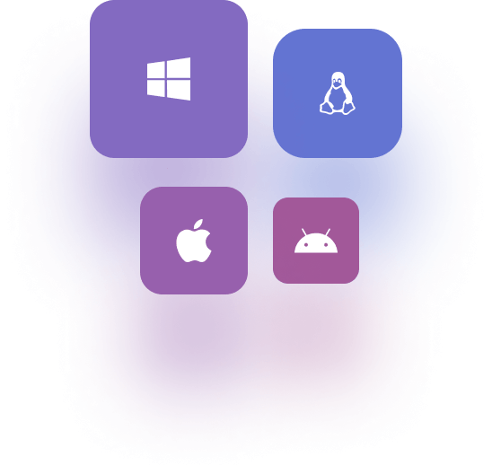 Operation systems icons: Windows, Linux, Apple, Android