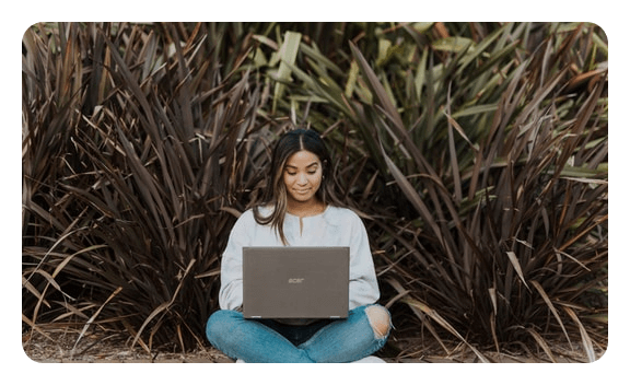 Student accessing studying resources remotely