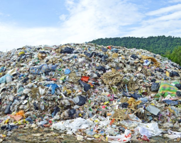 Landfill with tones of textile waste