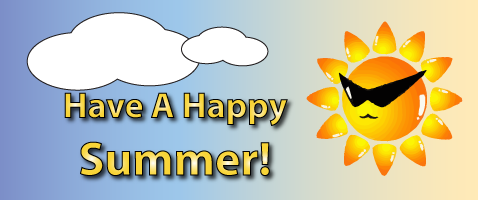 A sun with sunglasses captioned Have a happy summer!